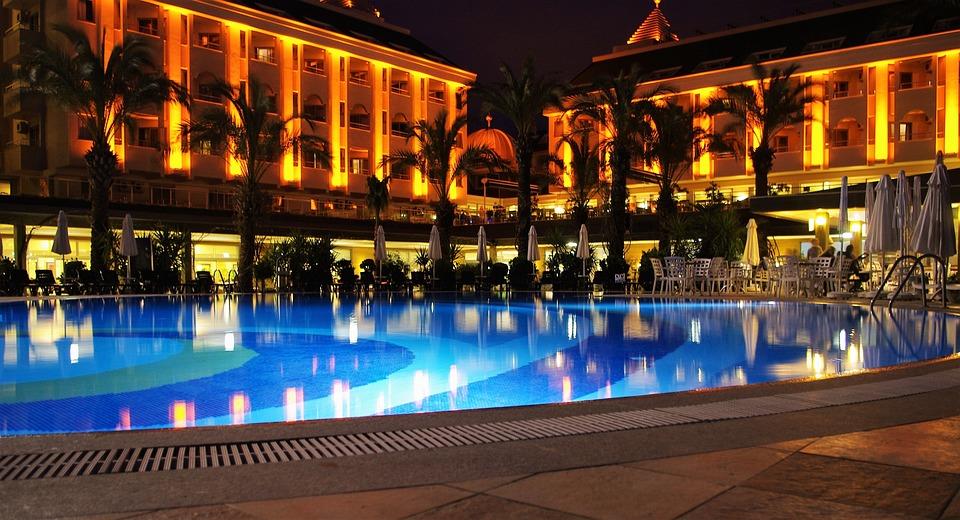 Hotel, Pool, Kveld, Belysning, Natt, Gjenoppretting