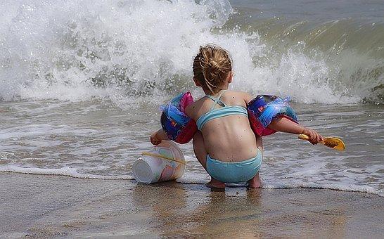 Girl, Play, Beach, Children'S Games