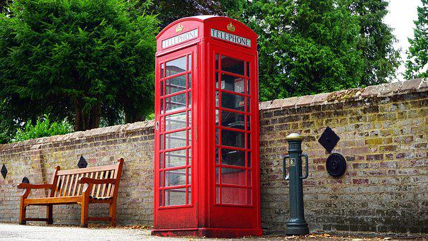 British Telephone Red Box Booth Engla