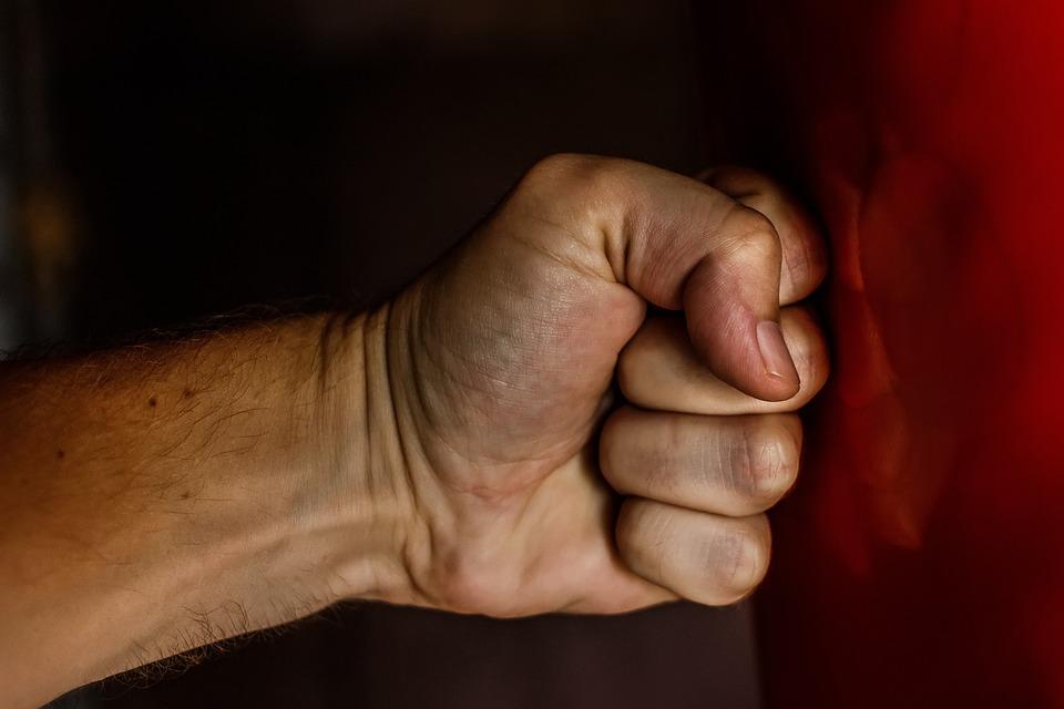 拳、打撃、力、レスリング、暴力、勝利、電話