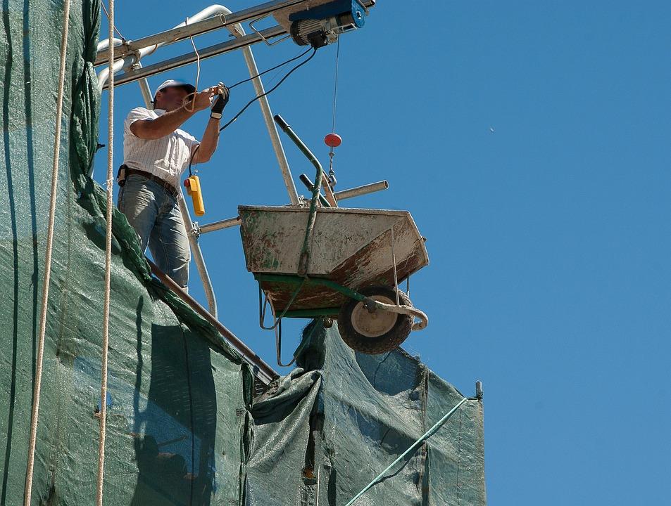 Bricklayer, Wheelbarrow, Construction, Scaffolding, Worker