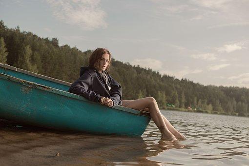 Boat, Girl, Forest, Model, Journey