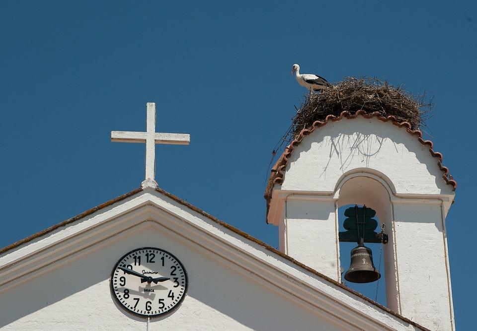 Portugal, Église, Nid, Cigogne