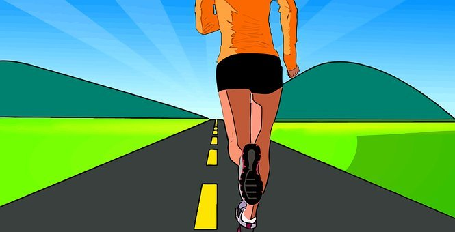 Woman, Road, Running, Sports, Exercise