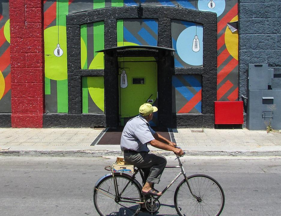 Old Man, Bicycle, Old Town, Colors, Building, Senior
