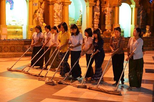 保洁员, Shwedagon Mirabello, 宝塔, 擦除, 清洁