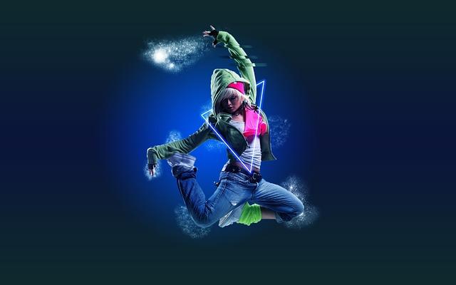 ダンス, 女の子, 電気, ジャンプ, 空気中, フォト ショップ, 若い人たち, ライフスタイル, 10 代
