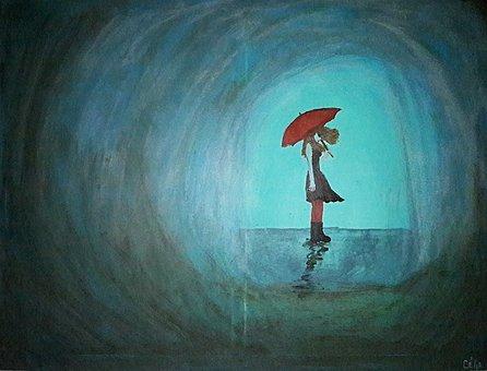 Pluie, Parapluie, Solitude, Tristesse