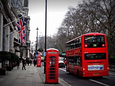 ロンドン, ストリート, 電話, キャビン, 赤バス, イギリス, ロンドン