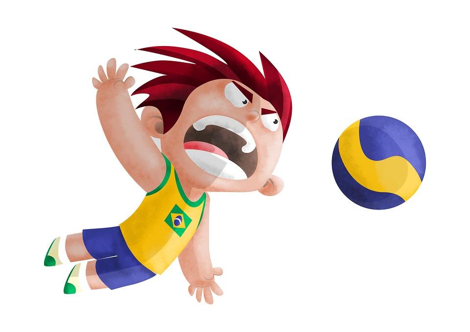 Volleyball, Boy, Man, Attack, Kid, Person, Brightness