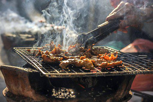 煙, バーベキュー, グリル, 肉, 食品, 豚肉, 料理, 赤, 火