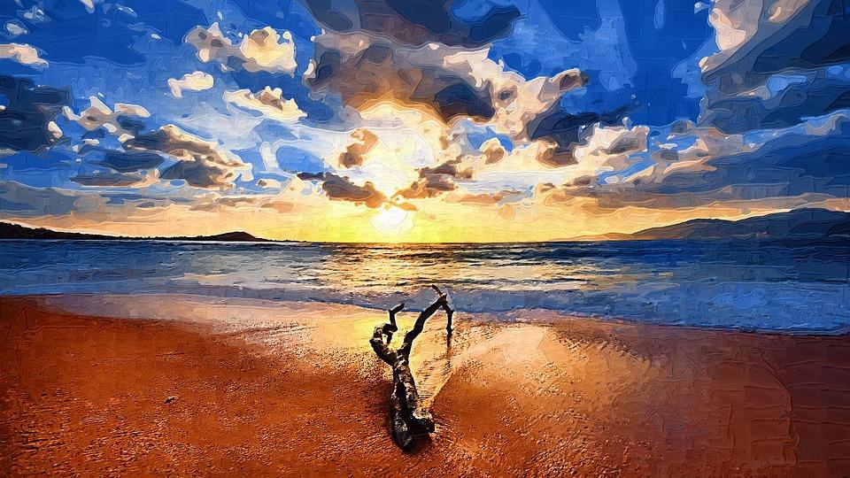 Paysage mer dessin coucher de image gratuite sur pixabay - Dessin coucher de soleil ...