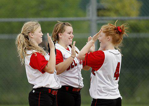 Softball, Girls, Team Mates, Happy