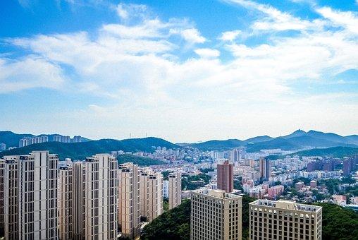 大連, 中国, 鳥の目を見る, 中国の都市, 風景