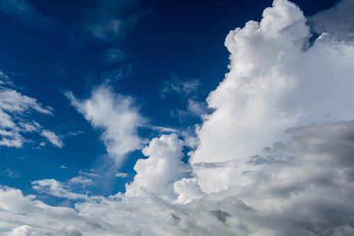 青い空, 雲, Cloudporn, 天気予報, ルックアップ, 空