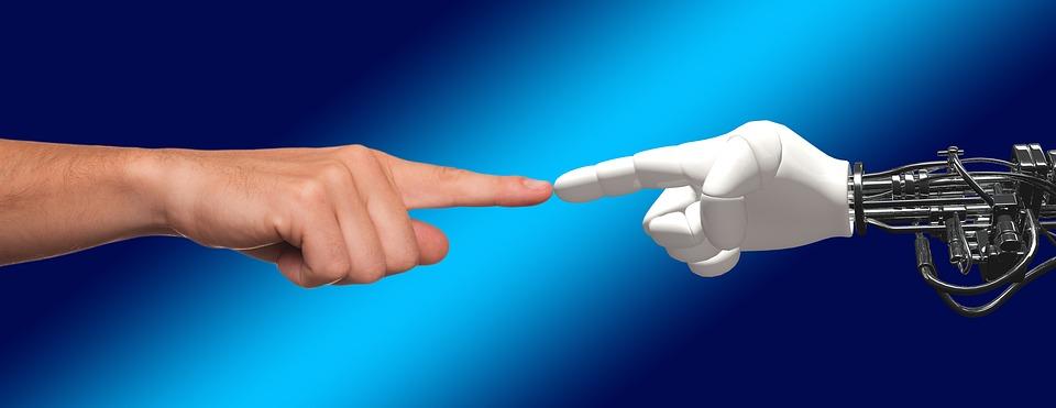 Mão, Robô, Humano, Divina, Faísca, Contato, Máquina