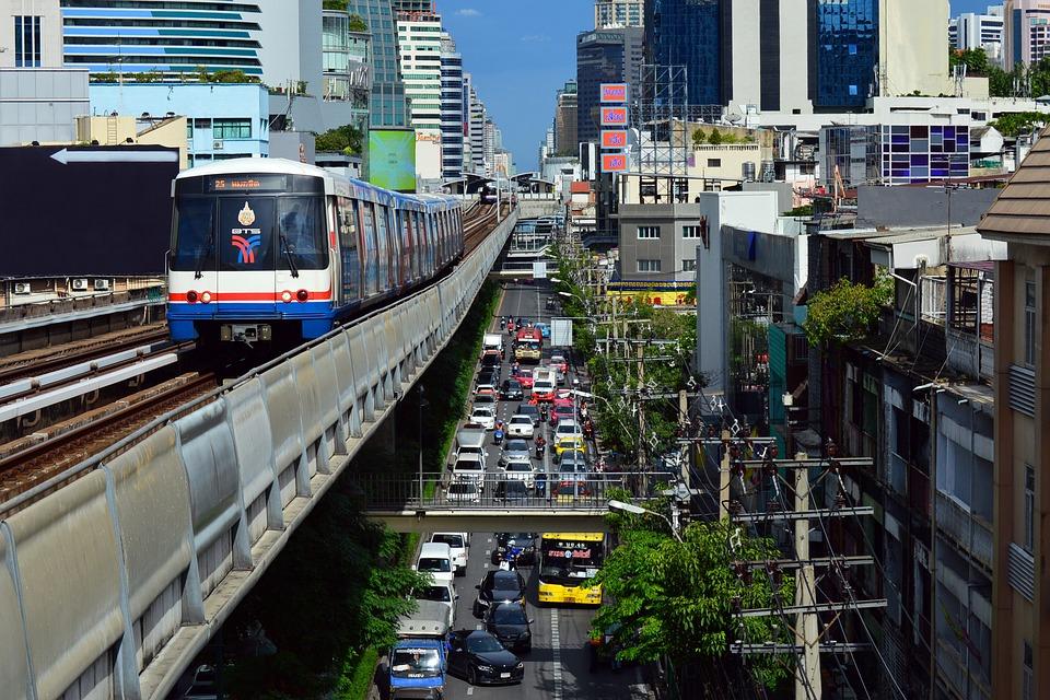 Transportation, Downtown, Bangkok, Traffic, Metro