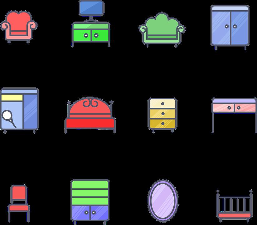 무료 벡터 그래픽: 소파, 미러, 아기 침대, 장식, 현대, 가구, 침실 ...