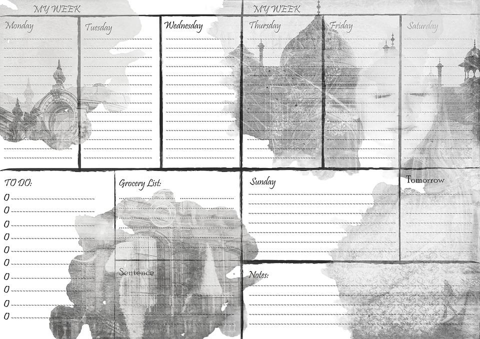 week calendar planner
