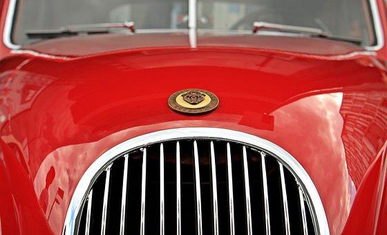 ジャガー, オールドタイマー, 赤, 自動, クラシック, 自動車, 古い車