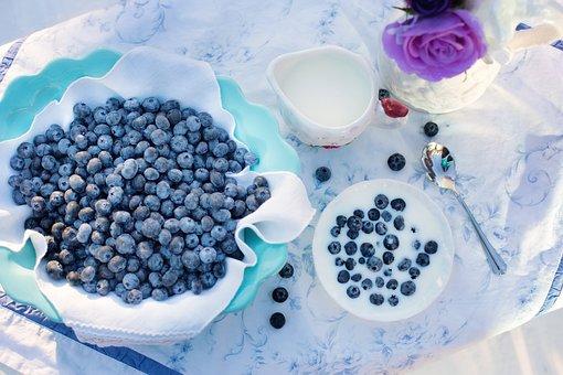 Blueberries, Cream, Dessert, Breakfast
