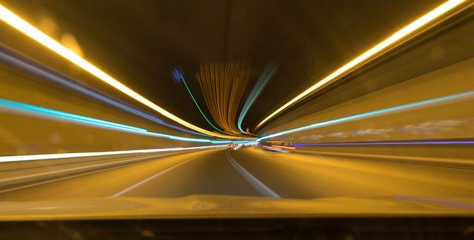ライト, 石碑, トンネル, 色, スピード, 長時間暴露, 道路, 車