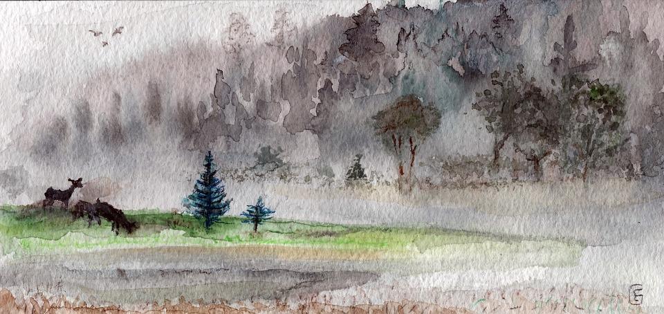 free illustration  watercolour  fog  landscape  deer - free image on pixabay