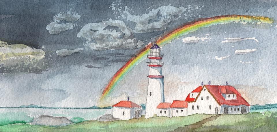 watercolour lighthouse rainbow  u00b7 free image on pixabay