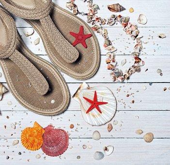 Sandals Seashells Sea Vacation Sand B