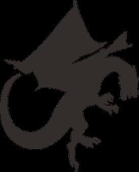 Dragon, Silhouette, Black, Mythology