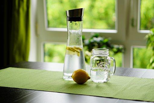 레몬, 물, 다과, 과일 주스, 한잔, 유리, 갈증, 리프레쉬, 물병