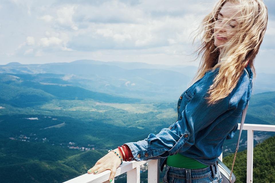 Breeze, Summer, Girl, Model, Mountains, Vacation, Bliss