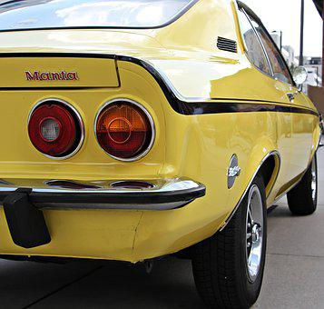Manta, Auto, Oldtimer, Yellow, Classic