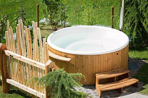 Whirlpool, Hot Tub, Garden, Summer