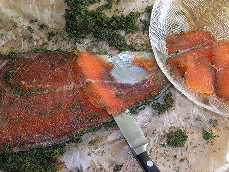 Salmón, Gravlax, Pescado, Rebanadas De