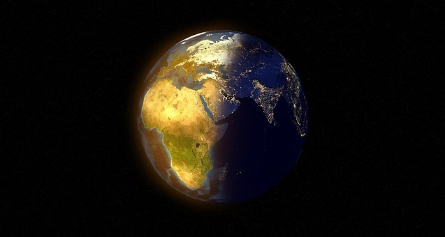 World, Globe, Day, Night, Sun, Stars