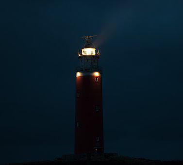 Lighthouse, Night, Light, Tower, Mood