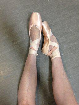 Ballet, Pointe, Feet, Satin, Ribbons