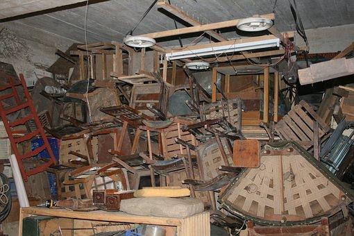 Junk, Workshop, Chairs, Basement, Old
