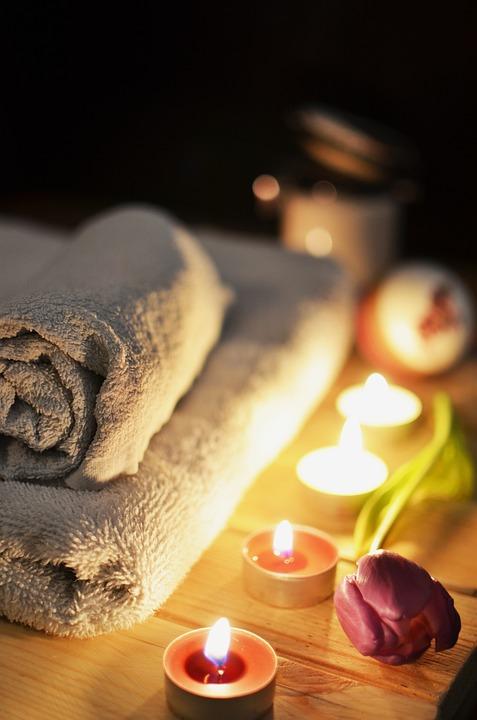 Massage-Therapie, Kerzen, Entspannung, Behandlung