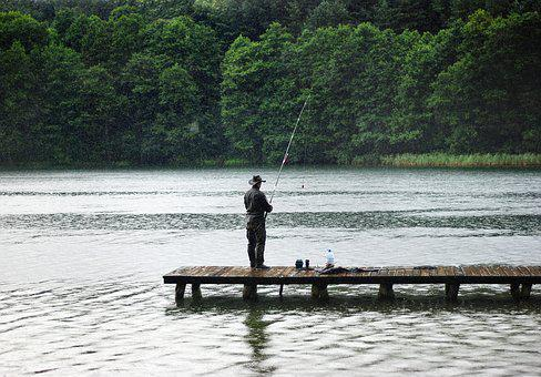 Angler, Rain, Hunting, Fishing, Catch