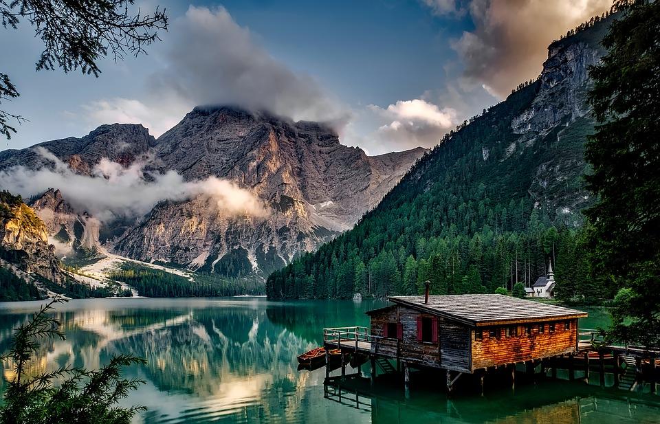 Dağlar, Göl, Ev, Göl Evi, Alpler, Alp, Sakin Suları