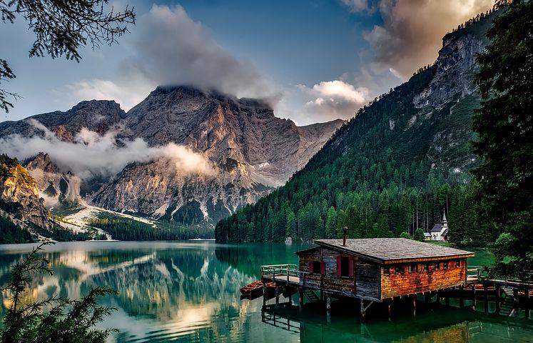 山, 湖, 家, 湖の家, アルプス山脈, 高山, 穏やかな海, 水の反射