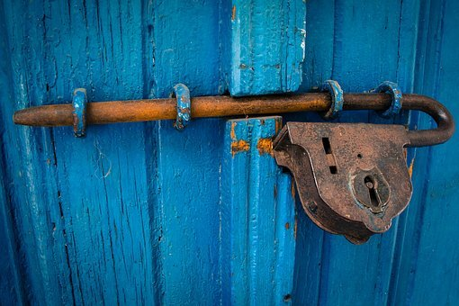 Door, Blue, Rusty, Entrance, Wood, Old