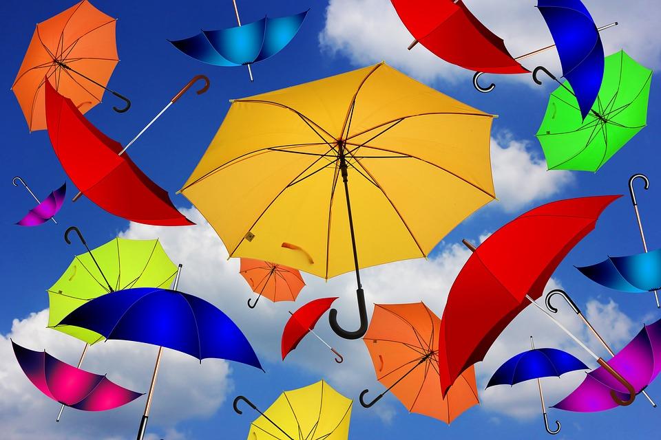傘, 色, 雰囲気, 気分, 人生への態度, 渦, 混乱, 容易さ, カラフル, 飛行, 風, 一緒, 画面