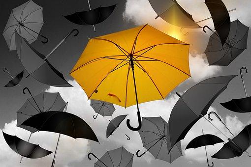 Paraguas, Amarillo, Negro, Blanco