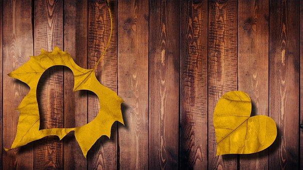 心, 葉, 愛, 木, 秋, 紅葉, 恋人, 木製構造, ハート形, 感情