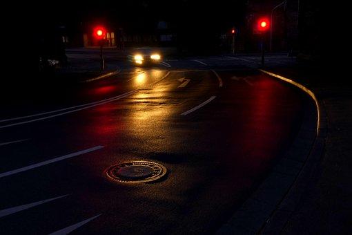 道路, 夜, 光, トラフィック, 市, 自動車, 暗い, Road
