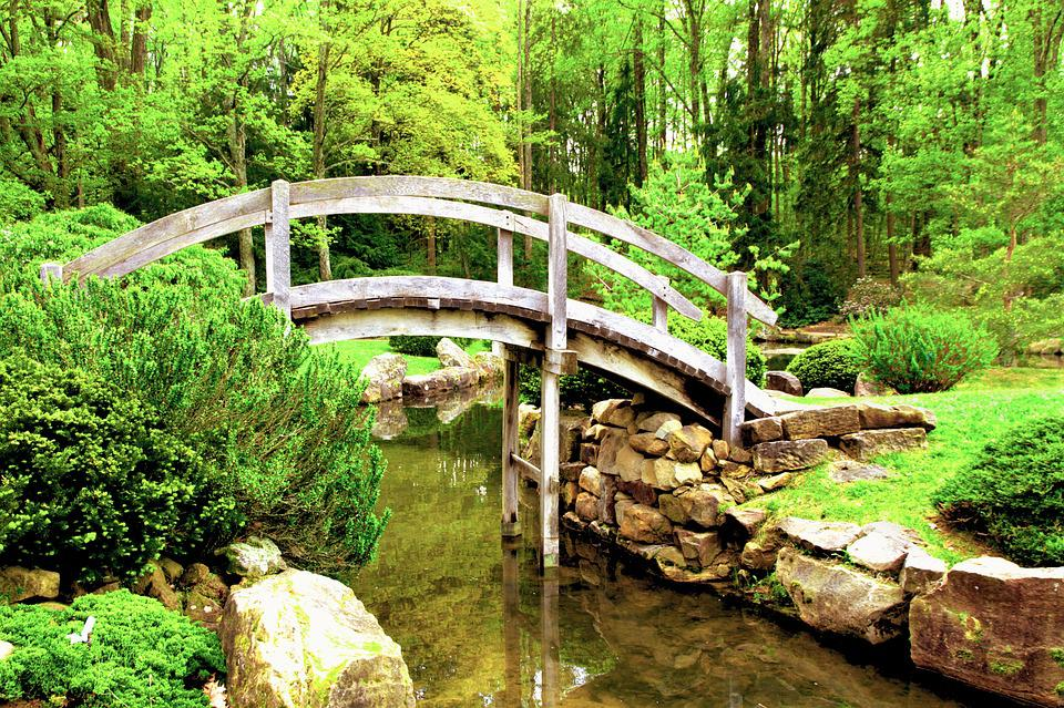 bridge japanese garden stream island