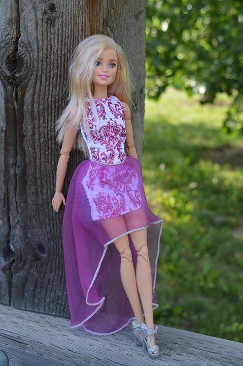 barbie doll toy posing dress purple caucasian - Barbie